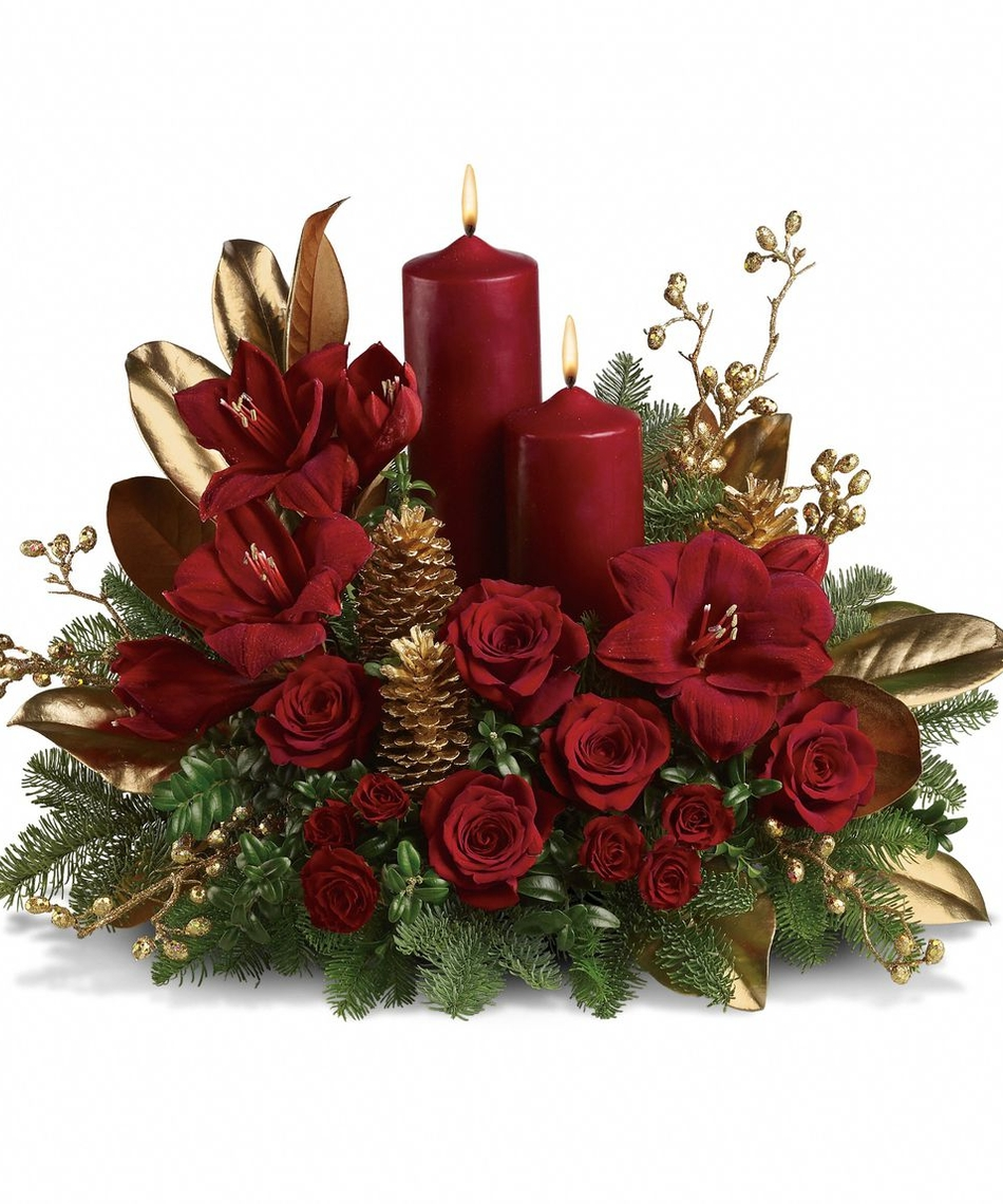 Christmas flower arrangements casual cottage for A arrangement florist flowers